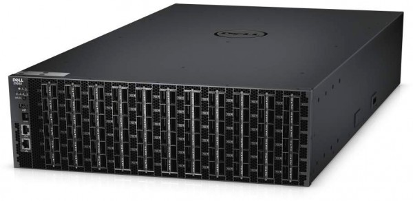 Dell Networking Z9500 Ethernet switch with 132 40 Gigabit Ethernet QSFP+ ports. It supports all standards required to build fat-tree networks.