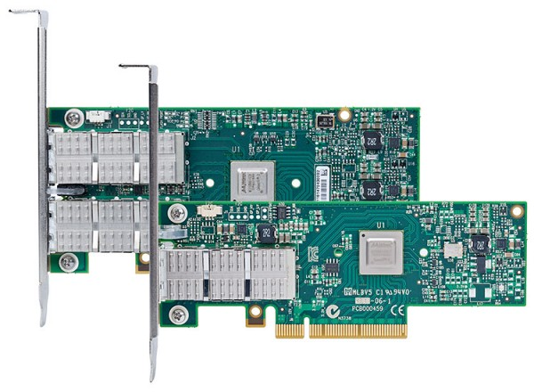 Single-port and dual-port InfiniBand adapters from Mellanox. New models can speak both FDR InfiniBand at 56 Gbps or 40 Gbit Ethernet (auto-sensing or user-selectable)